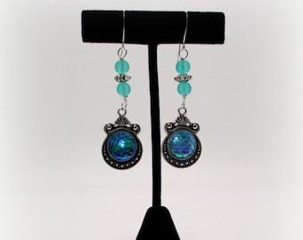 The Deep Blue Sea Mermaid Scale Earrings, Blue Earrings, Blue Mermaid Scale Charm Earrings