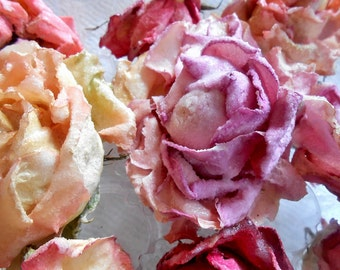 Candied Roses, Pastel, crystallized flowers, Aqua Roses. Cake Toppers, Edible Flowers, Weddings, Anniversary Parties,Teas, Birthdays (6)