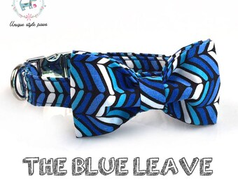 blue patterned collar for cats and dogs with detachable bow