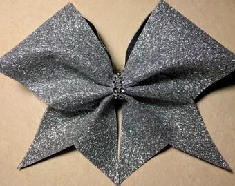 Silver Glitter Black Base Bow ~Adorable Designs NH~Cheer Bow~
