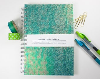 Green Iridescent Journal – Square Grid Journal – 6x9 inch Notebook – Holographic – Bullet Journal