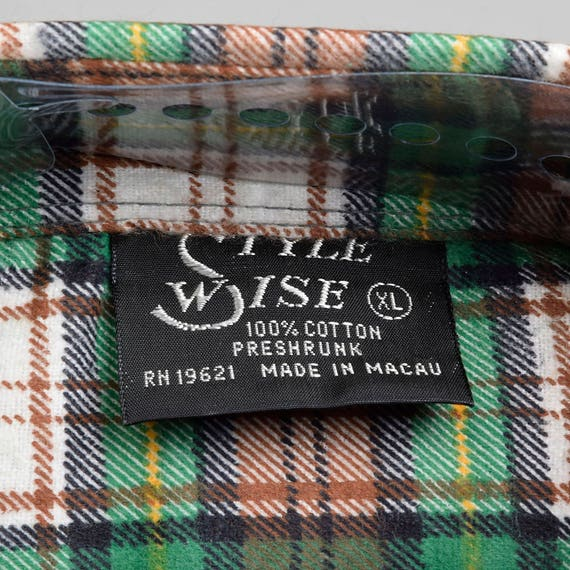 Flannel Shirt 1970s Cotton Long Deadstock Button Tailored Plaid Shirt Mens Heavy Flannel Sleeve Up Green Duty 100 XL All Cotton BCqgw