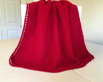 Red Crocheted Waffle Stitched Baby Afghan