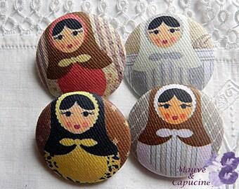 4 fabric buttons, matryoshka, 22 mm / 0.86 in