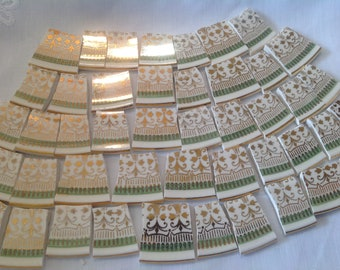 Broken China mosaic tiles~~Handcut Tiles~~~KNOWLES~~FILIGREE AND SaGe