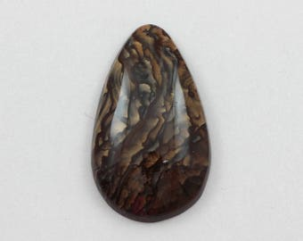 Picture Jasper Cabochon 23x39 Teardrop Deschutes Oregon Biggs Jasper L25 Vintage Hand Cut Agate