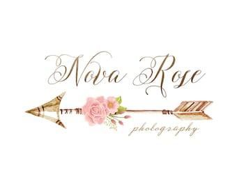 Premade Logo Arrow Logo Calligraphy Logo Boutique Logo Blog Logo Boho Photography Logo Watermark Design Business Branding Shabby Chic