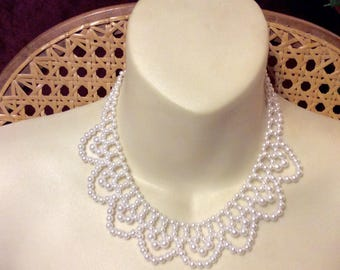 Vintage faux pearl beaded collar choker necklace. Lacy look.