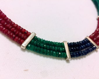 Ruby, Sapphire and Emerald Color Block Necklace