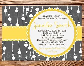 Bridal Shower Invitation,Wedding shower Digital, Baby Shower Invitation,Yellow, Gray Shower Invitation,digital,printable, 5150