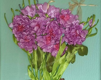 Chrysanthemum  // Satin Ribbon Embroidery // Framed // Glass cover // 25cm x 25cm