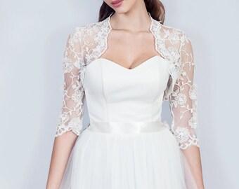 Lace wedding bolero, 3/4 sleeve wedding shrug, lace jacket