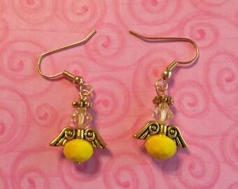 Yellow Christmas Angel Earrings