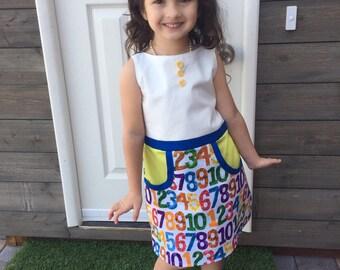 Toddler School Dress | Preschool Dress | Number Dress | Toddler Play Dress