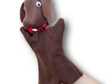 Hand Puppet for children Cute Felt Dog Puppet pet - handmade puppet for theatre - Bernard the Dog