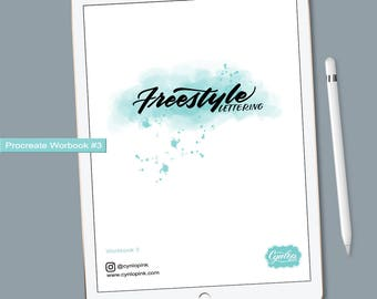 Freestlye Lettering Workbook #3 |  iPad Hand Lettering Workbook | Procreate ipad Lettering, iPad lettering, lettering practice sheets
