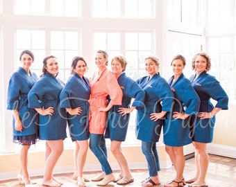 GETTING READY ROBE - Navy Waffle Robe - Wedding Robes - Cotton Robes - Bride Robe - Bridesmaids Robes - Monogrammed Robes - Spa Robes
