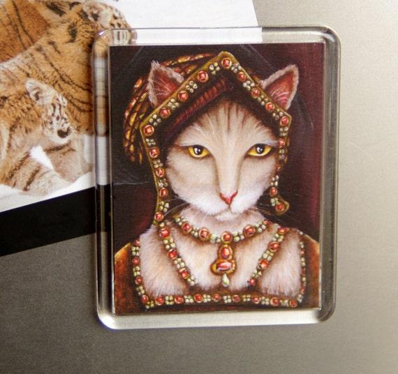 Tudor Cat Magnet, Jane Seymour Tudor Wife of King Henry, Fridge Magnet