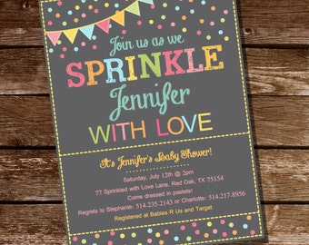 Sprinkle Baby Shower Invitation in Gray and Pastels - Instant Download and Edit with Adobe Reader