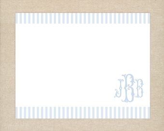 25 Printed Blue Monogram Thank You Cards