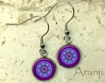 Purple mandala earrings, mandala earrings, purple drop earrings, purple mandala drop earrings, purple boho earrings, drop earings, PA116DP