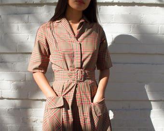 vintage 1960s I.Magnin Sherlock Plaid Dress