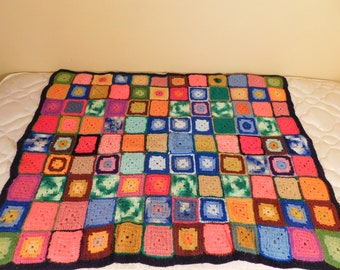 Vintage Afghan Lap Blanket Multi Color Square Border Afghan