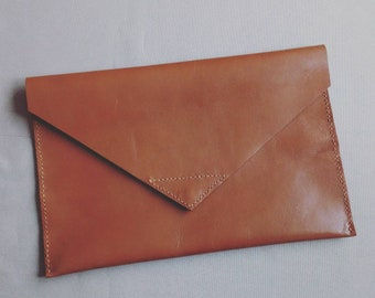 Camel leather clutch