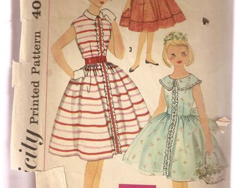 VINTAGE Simplicity Sewing Pattern 2482 - Children's Clothes - Girl's Dress, Size 7