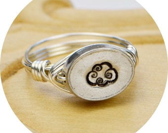Cloud Wire Wrapped Ring-Sterling Silver Filled with Hand Stamped Pewter Bead- Any Size 4, 5, 6, 7, 8, 9, 10, 11, 12, 13, 14