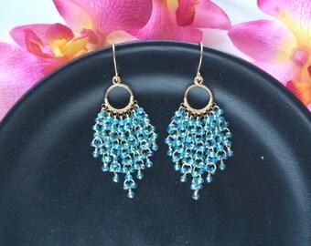 Gold Filled Mystic Blue Quartz Chandelier Earrings