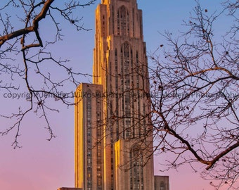 University of Pittsburgh Cathedral of Learning at Sunset - Includes FREE SHIPPING!