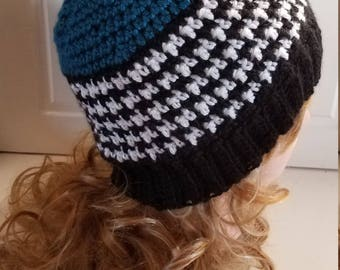 Teal Blue Houndstooth Style Hat.  Super soft, for women- Ready to be Shipped