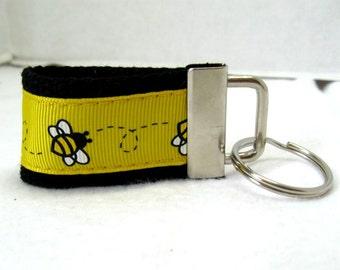 Bee Mini Key Fob -  Bumble Bees Key Ring - Yellow Black Key Chain - Bee Zipper Pull - Ready to Ship
