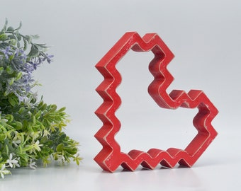 Wood heart - Pixel heart- wooden painted heart - freestanding heart