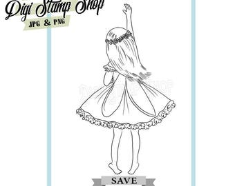 Fairy from behind Stamp, Digital Stamp, Fairy Stamp 2, Digi Stamp, Girl Stamp, Color In Page, Card Design, Lineart, Back of fairy stamp,
