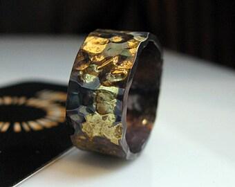 Mens Wedding Band Mens Wedding Ring Black Gold Ring Rustic Mens Wedding Bands Unique Wedding Band 10mm Artisan Ring Viking Wedding Ring