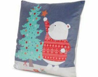 Decorative teddy polar bear cushion cover complete with cushion
