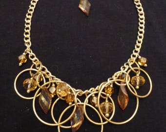 Custom Amber Colored Beads and Gold Tone Necklace