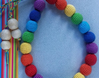 Crochet teething rainbow beads for moms and children For baby teeth Crochet nursing necklace beads for baby first baby gift