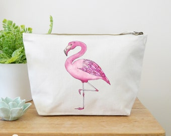Flamingo Canvas Wash Bag, Large Zipper Pouch, Makeup Bag, Toiletry Bag, Accessory Bag, Flamingo Gift