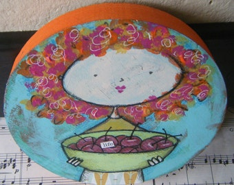 Life is a Bowl of Cherries mixed media round painting