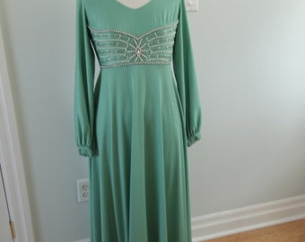 Teal 1970's Jersey Stretch Evening Gown with Beading