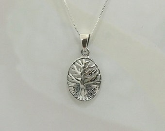 Domed 3-D Tree of Life Sterling Neclace