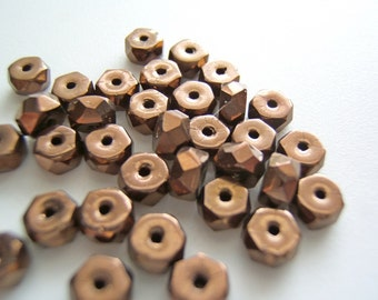 Faceted Bronze 6mm Glass Czech Rondelles/Discs