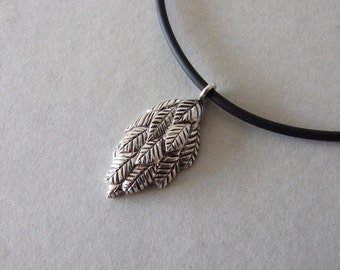 Rustic Leaf Necklace - silver leaf necklace , rustic necklace , woodland necklace , silver rustic necklace , gift for her , christmas gift