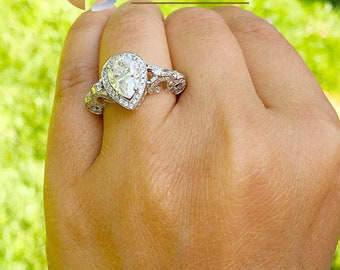 14k solid white gold pear shape forever one moissanite and natural round cut diamonds engagement ring art deco antique style halo 2.20ctw