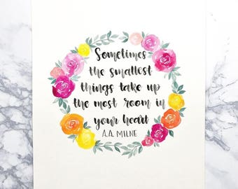Custom Hand Lettered Watercolor Quote with Original Artwork, Rose Wreath,  Made-to-order,  Personalized Wall Art, 8 x 10