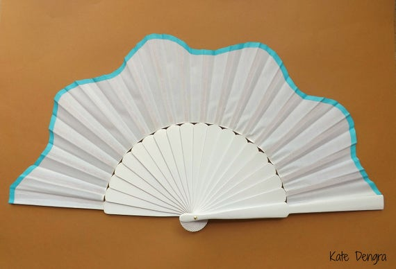 White and Turquoise SIZE OPTIONS Scalloped Pericon Hand Fan Wood Fabric Large Flamenco Handheld Fand From Spain