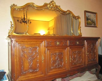 Cabinet with mirror, Piedmont Baroque, dining, solid walnut carved, 50/60, vintage Years